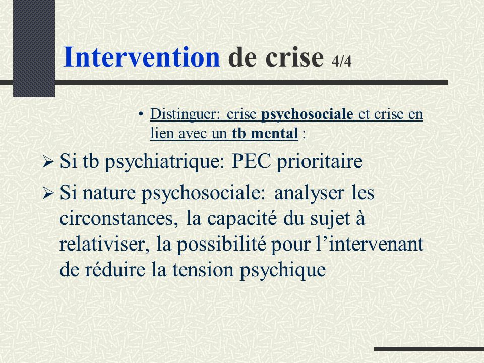 Intervention de crise 4/4