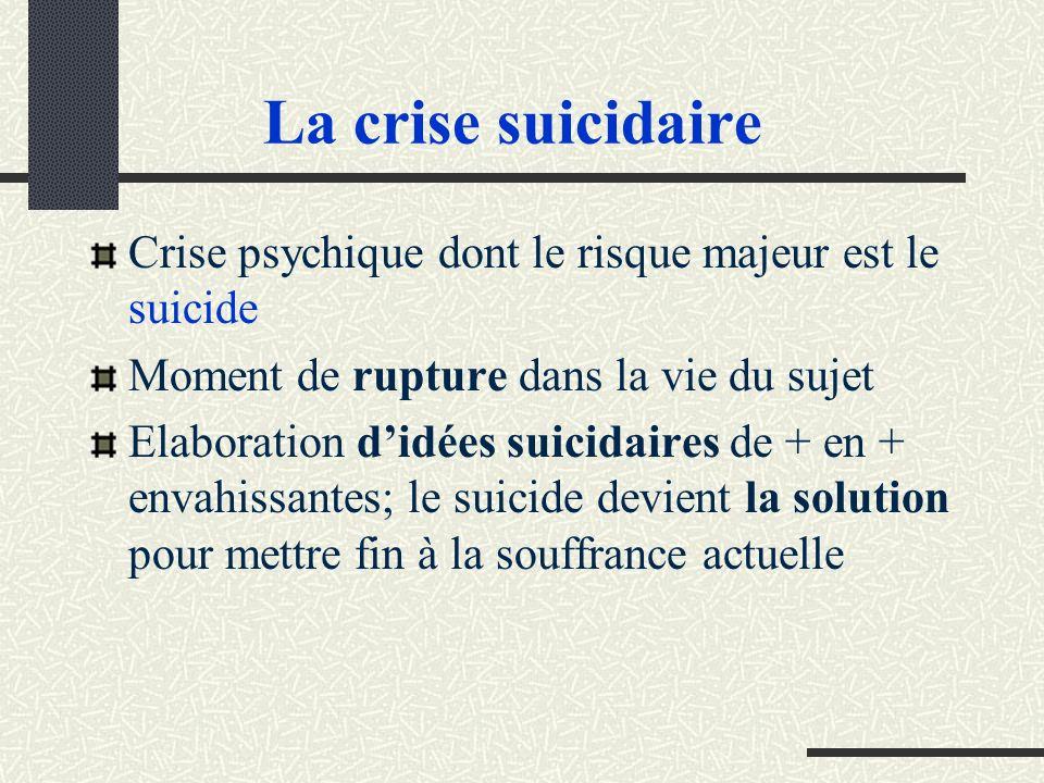 La crise suicidaire Crise psychique dont le risque majeur est le suicide. Moment de rupture dans la vie du sujet.