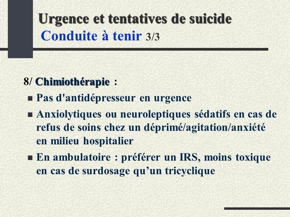 Urgence et tentatives de suicide Conduite à tenir 3/3