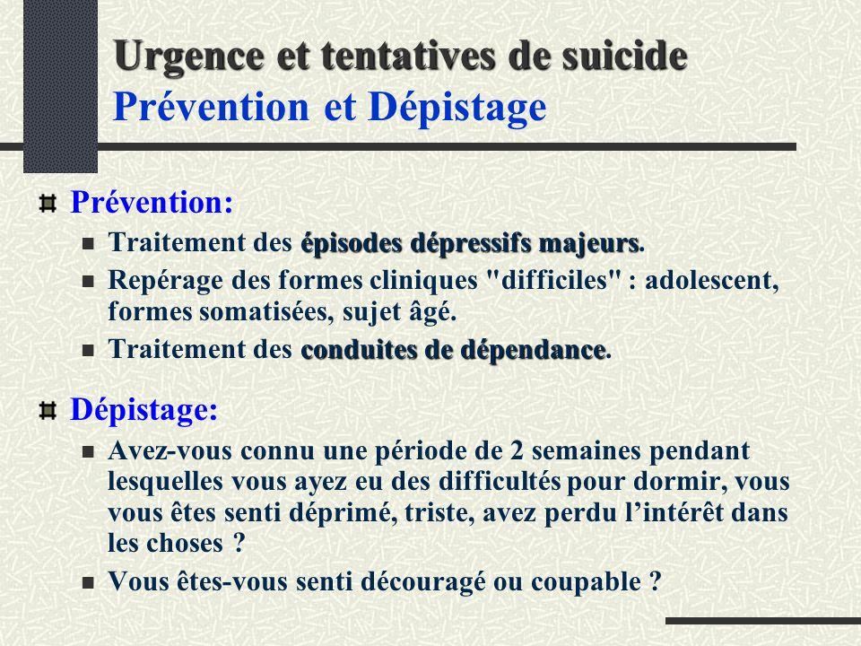 Urgence et tentatives de suicide Prévention et Dépistage