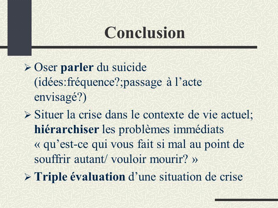 Conclusion Oser parler du suicide (idées:fréquence ;passage à l'acte envisagé )