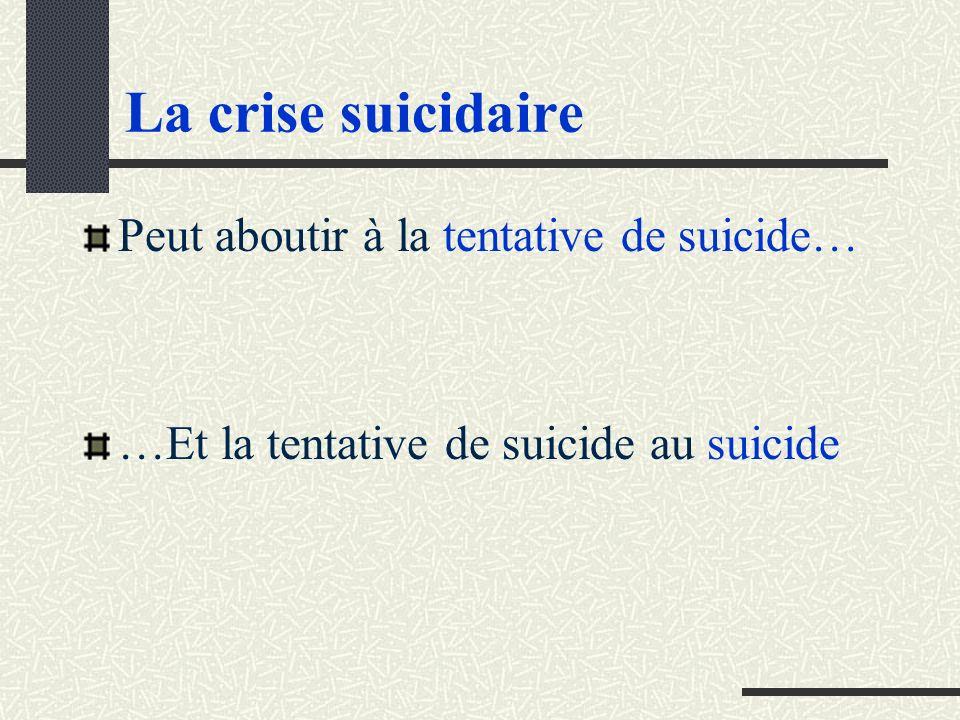 La crise suicidaire Peut aboutir à la tentative de suicide…