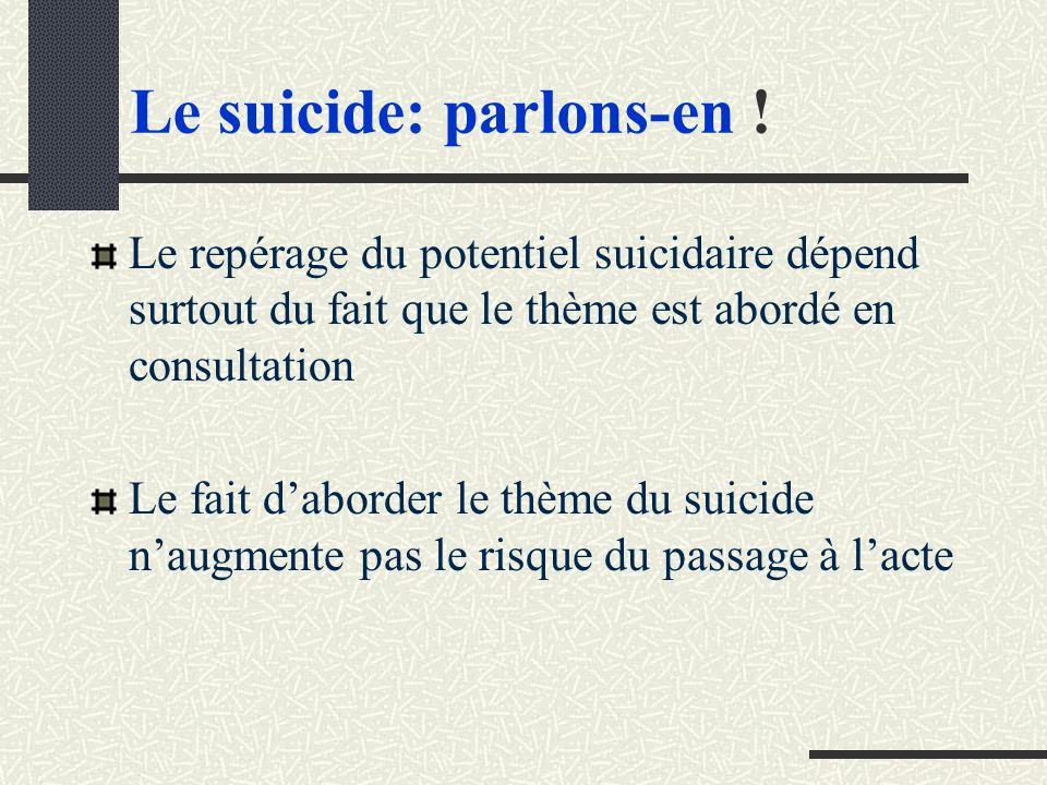 Le suicide: parlons-en !