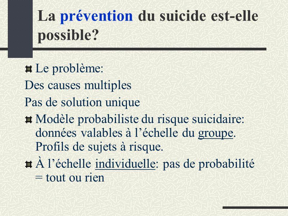 La prévention du suicide est-elle possible