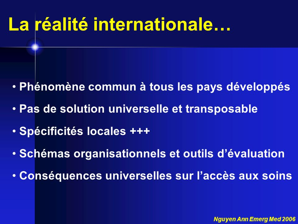 La réalité internationale…