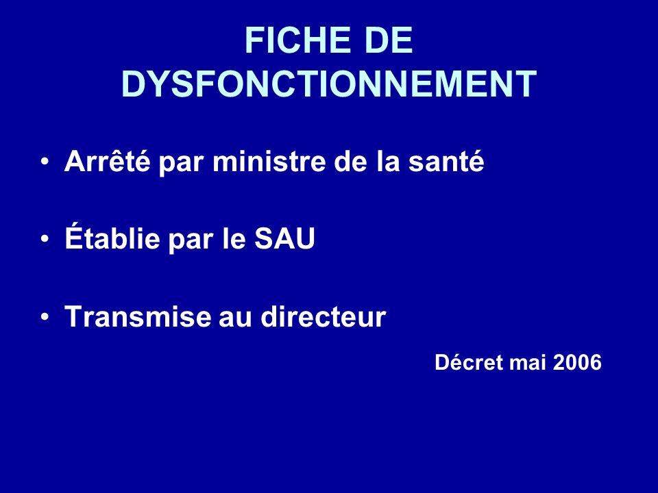 FICHE DE DYSFONCTIONNEMENT