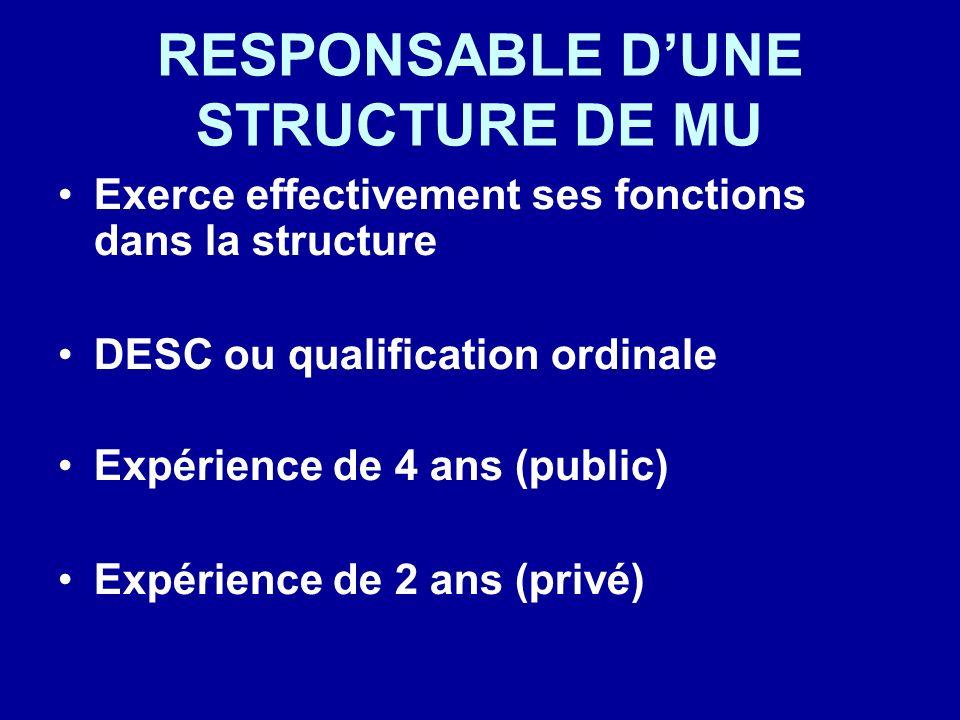 RESPONSABLE D'UNE STRUCTURE DE MU
