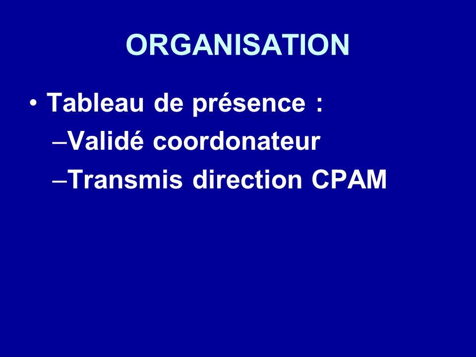 ORGANISATION Tableau de présence : Validé coordonateur