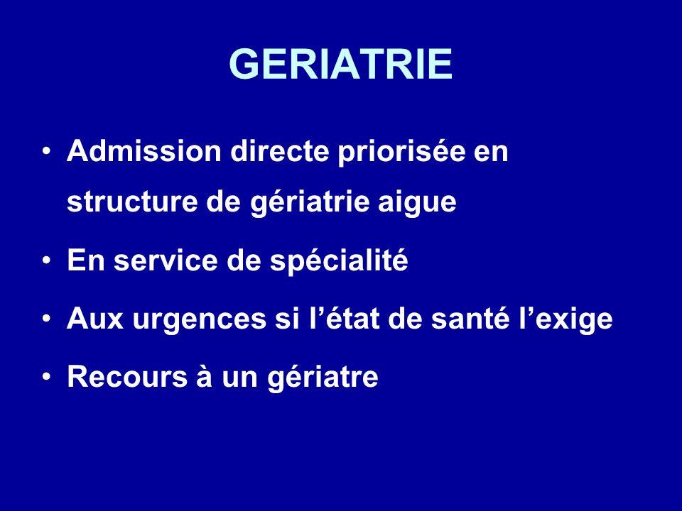 GERIATRIE Admission directe priorisée en structure de gériatrie aigue
