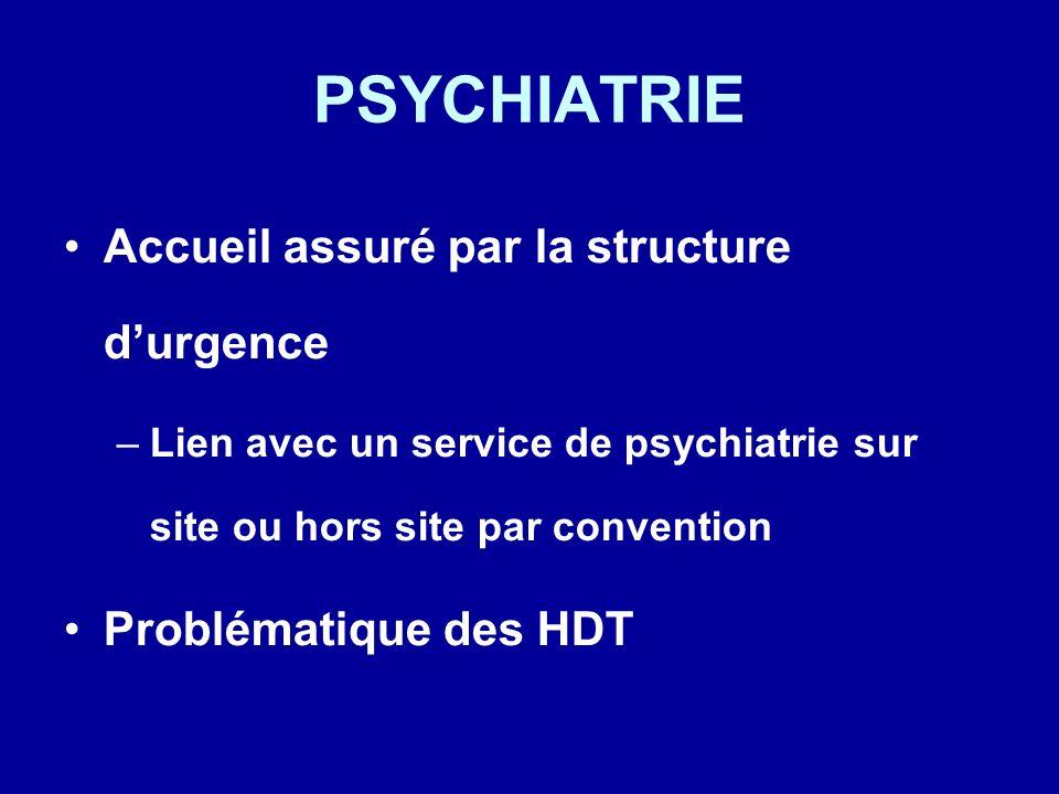 PSYCHIATRIE Accueil assuré par la structure d'urgence