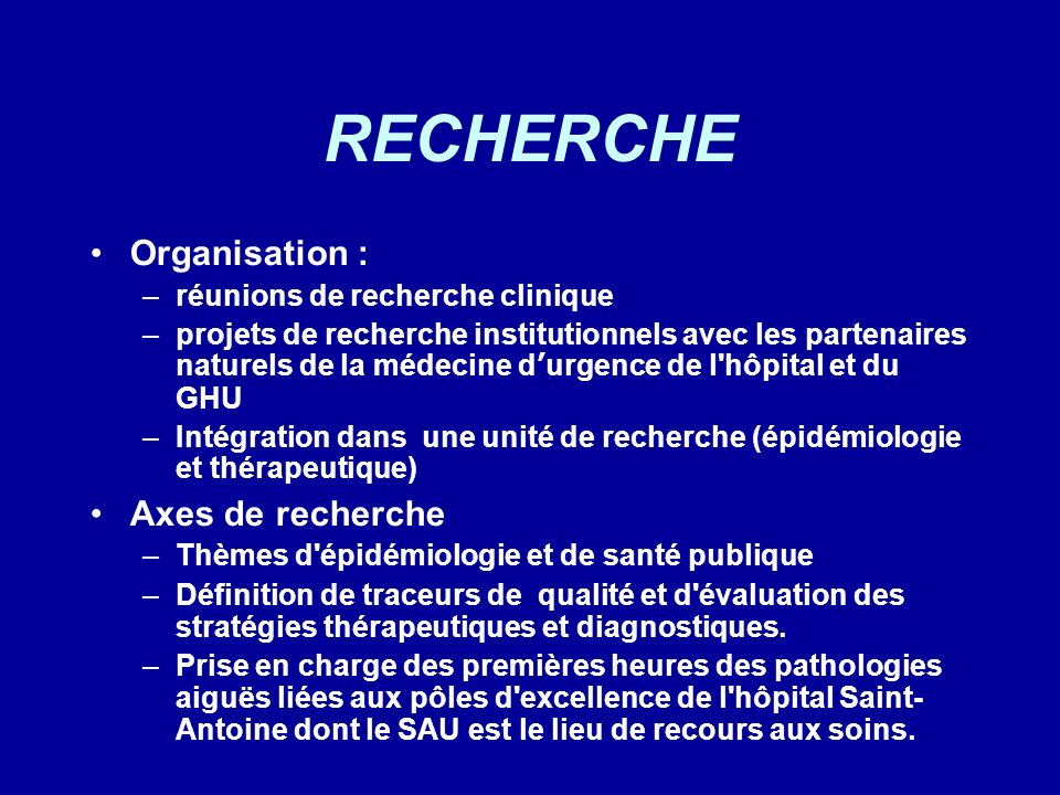 RECHERCHE Organisation : Axes de recherche