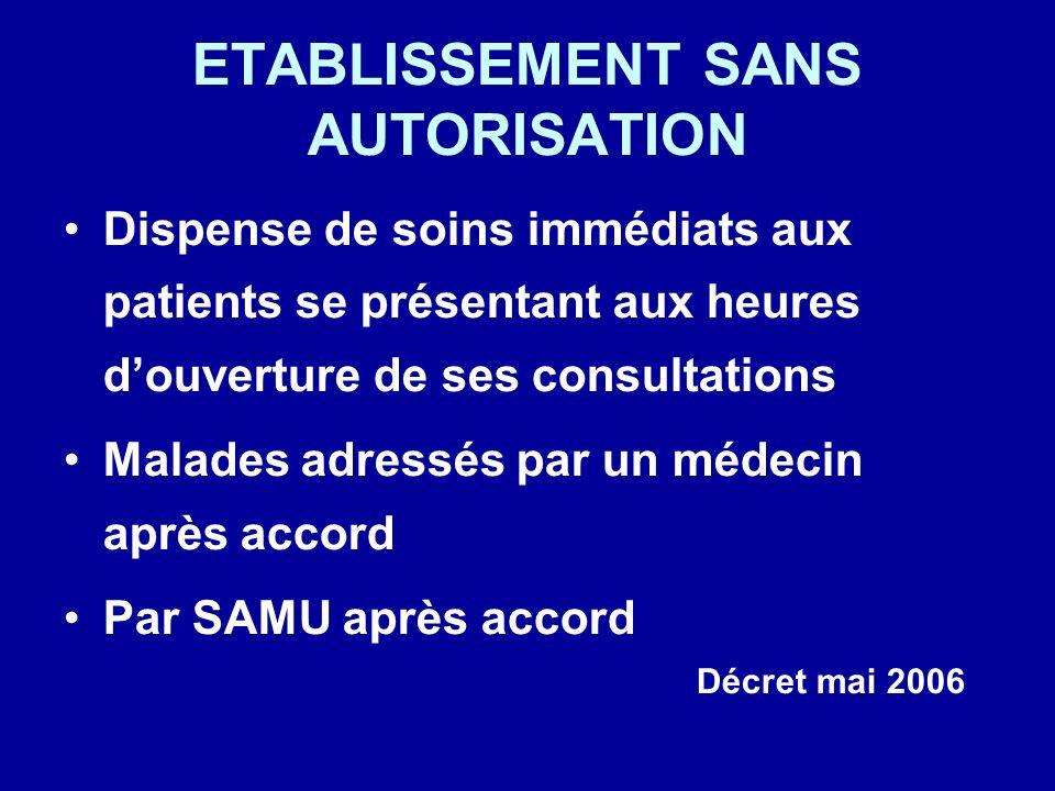 ETABLISSEMENT SANS AUTORISATION