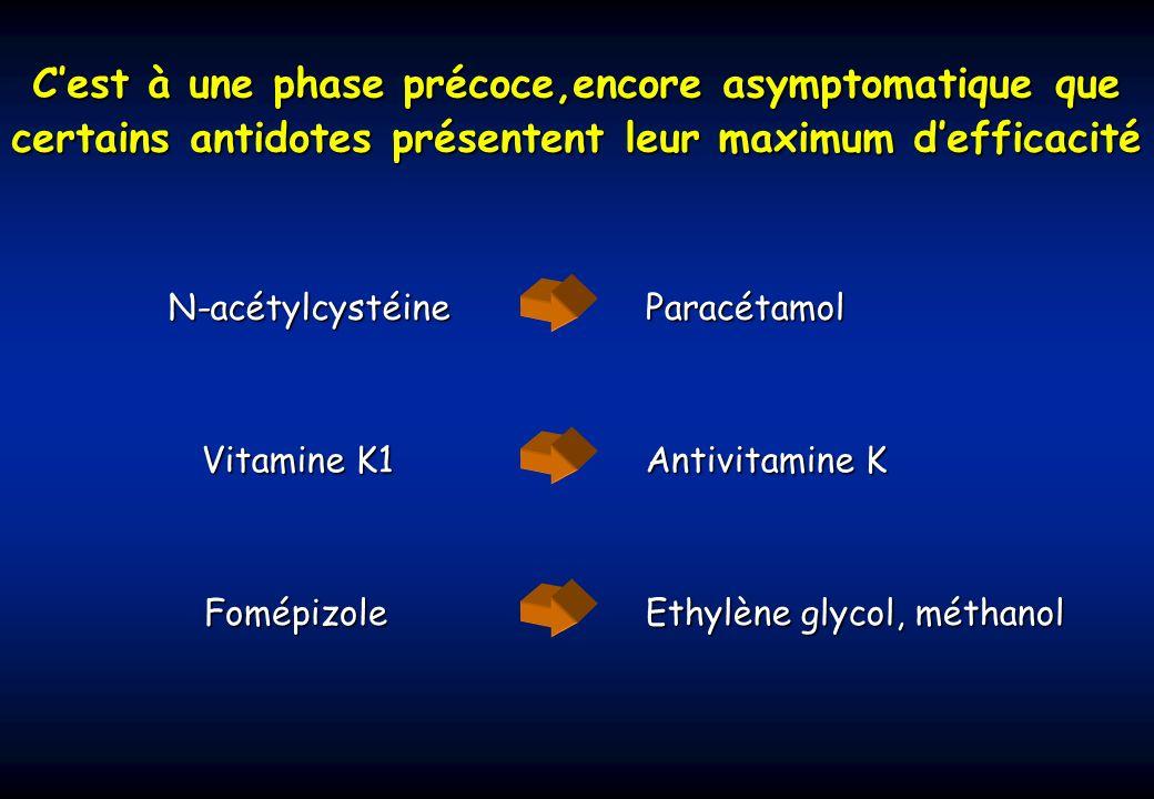 C'est à une phase précoce,encore asymptomatique que certains antidotes présentent leur maximum d'efficacité