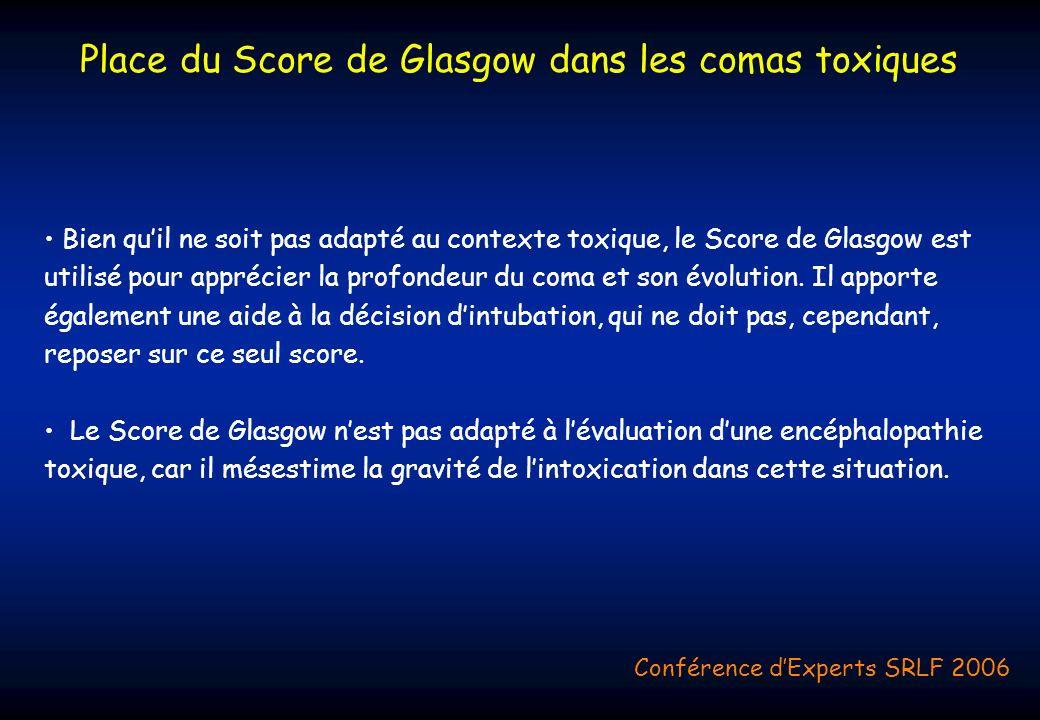 Place du Score de Glasgow dans les comas toxiques