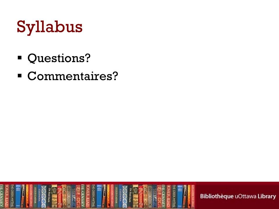 Syllabus Questions Commentaires
