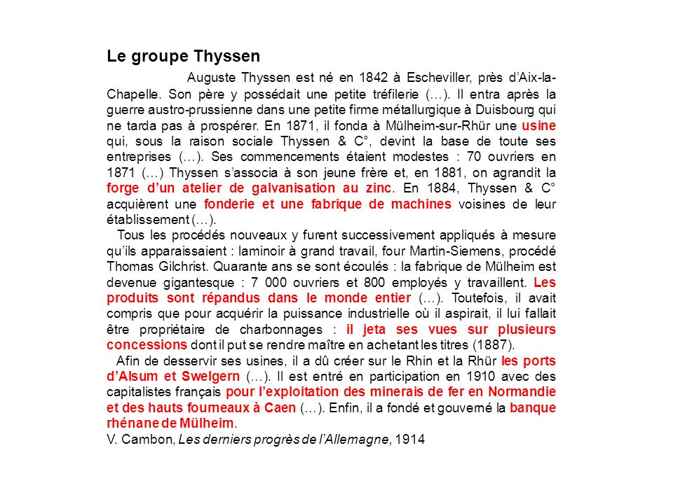Le groupe Thyssen