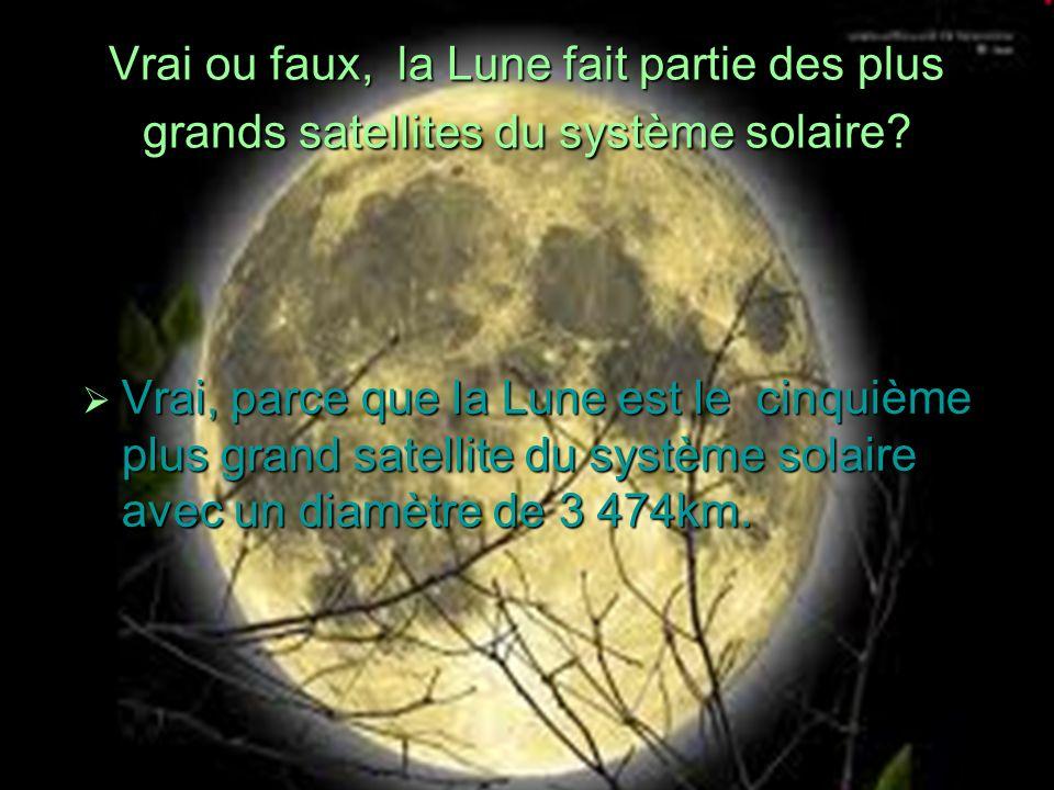Vrai ou faux, la Lune fait partie des plus grands satellites du système solaire