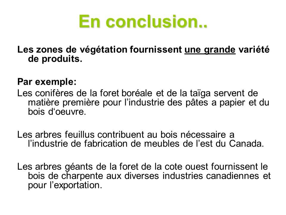 En conclusion.. Les zones de végétation fournissent une grande variété de produits. Par exemple: