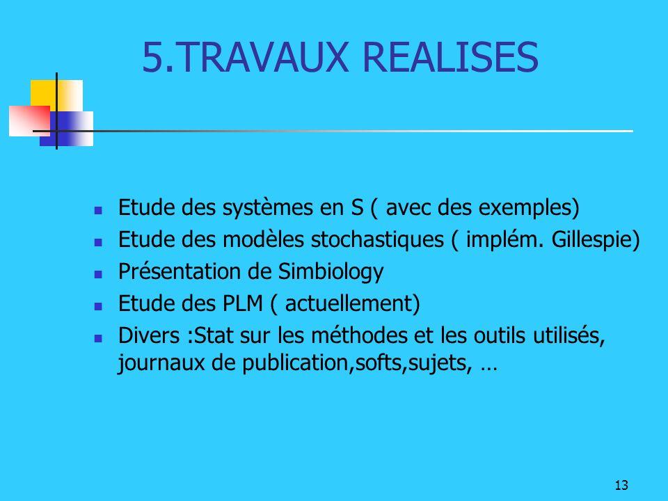 5.TRAVAUX REALISES Etude des systèmes en S ( avec des exemples)