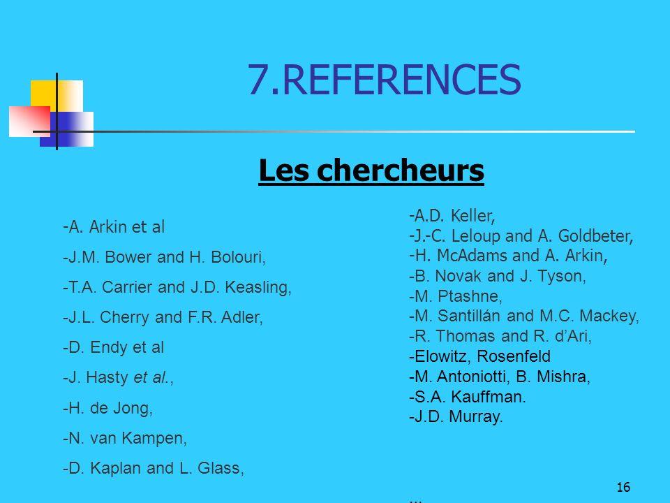 7.REFERENCES Les chercheurs -A.D. Keller, A. Arkin et al
