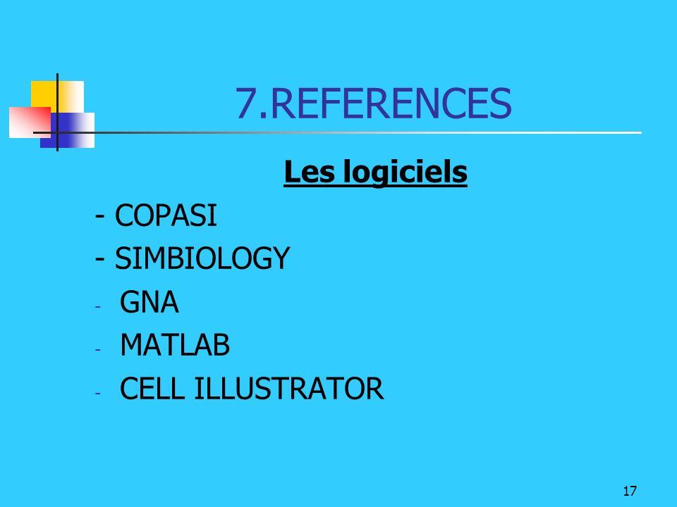 7.REFERENCES Les logiciels - COPASI - SIMBIOLOGY GNA MATLAB