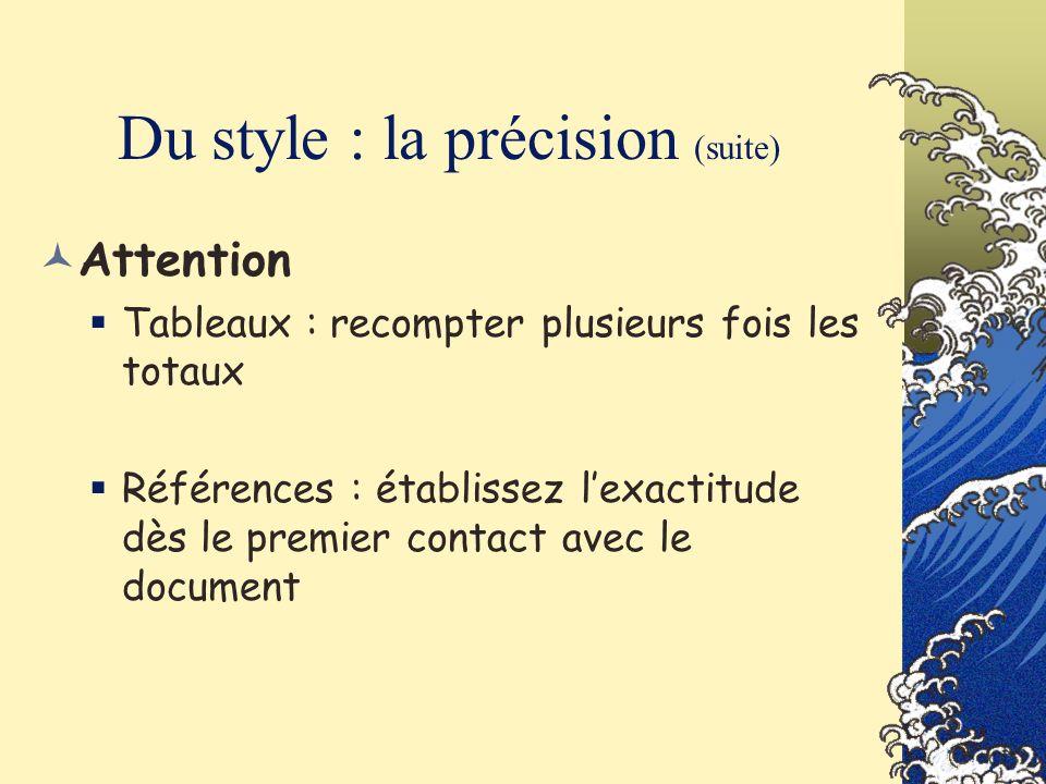 Du style : la précision (suite)