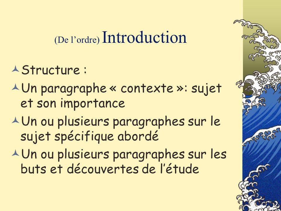 (De l'ordre) Introduction