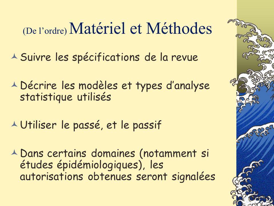 (De l'ordre) Matériel et Méthodes