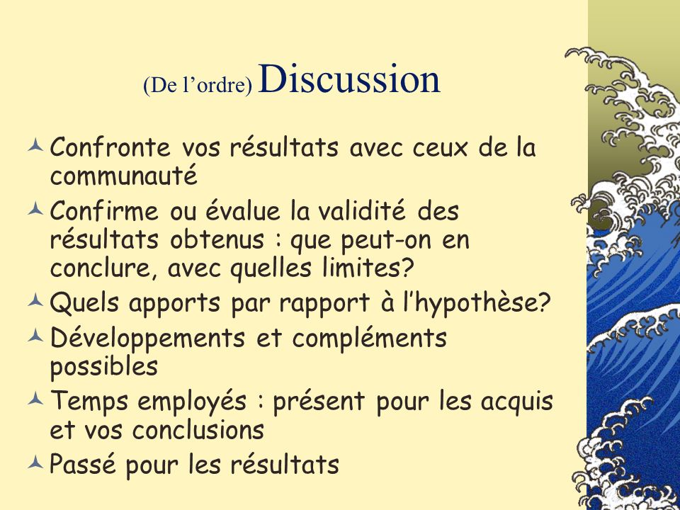 (De l'ordre) Discussion