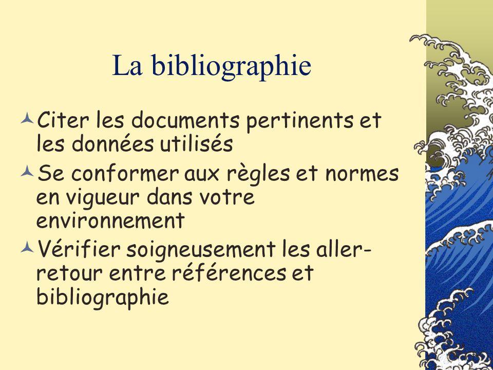 La bibliographie Citer les documents pertinents et les données utilisés. Se conformer aux règles et normes en vigueur dans votre environnement.