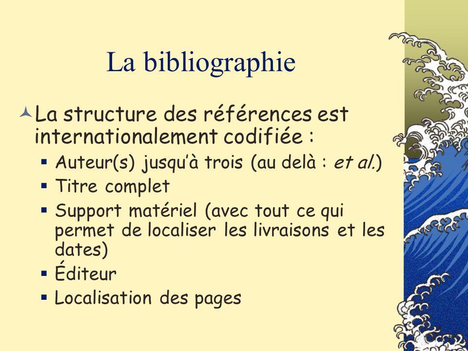 La bibliographie La structure des références est internationalement codifiée : Auteur(s) jusqu'à trois (au delà : et al.)