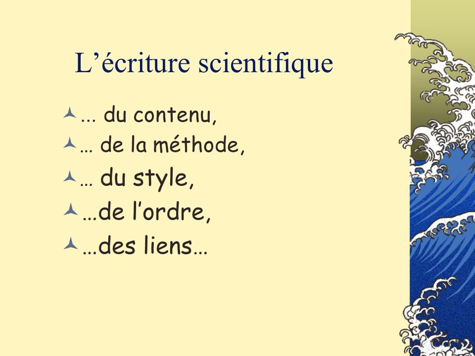 L'écriture scientifique