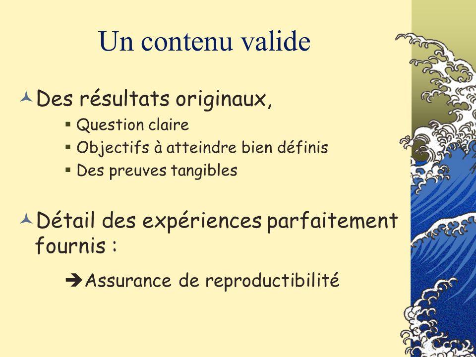 Un contenu valide Assurance de reproductibilité
