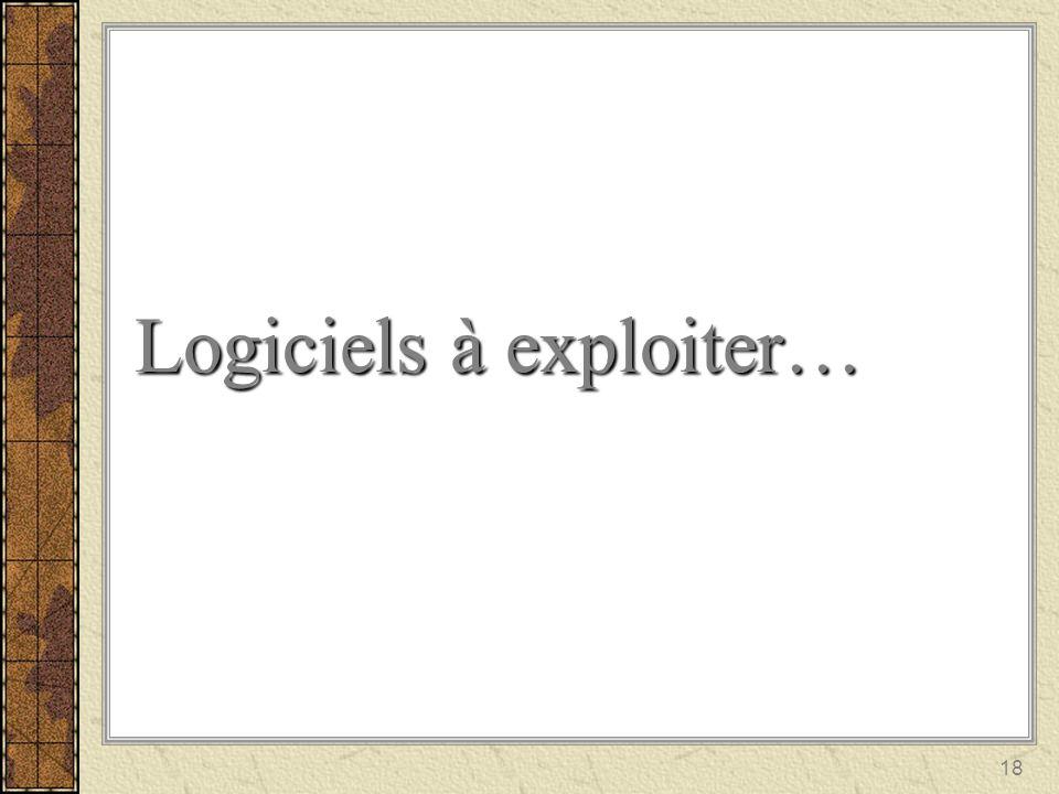 Logiciels à exploiter…