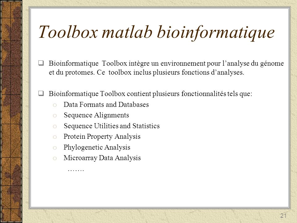 Toolbox matlab bioinformatique