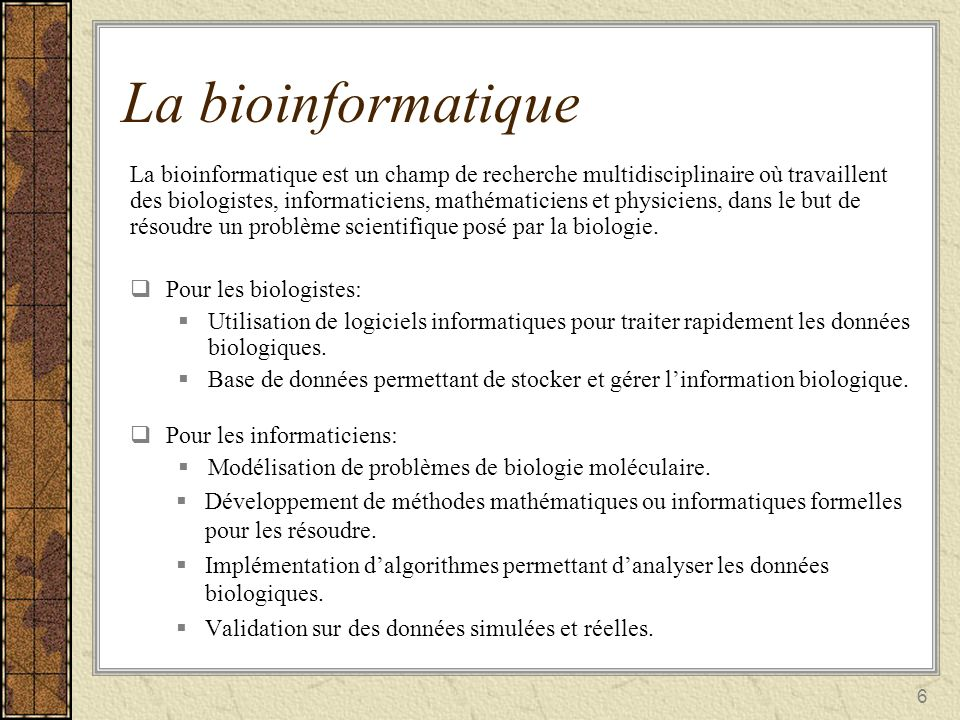 La bioinformatique