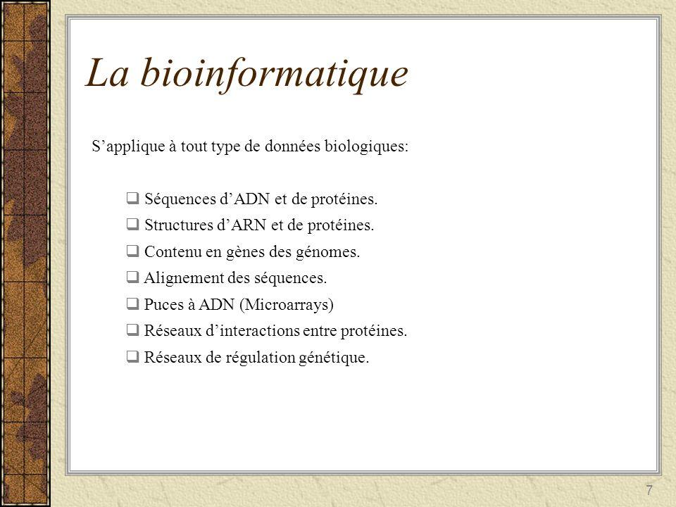 La bioinformatique S'applique à tout type de données biologiques:
