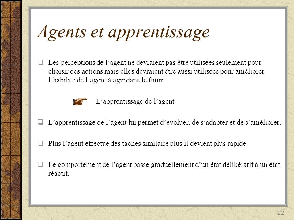 Agents et apprentissage
