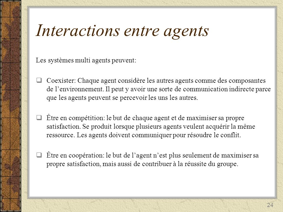 Interactions entre agents