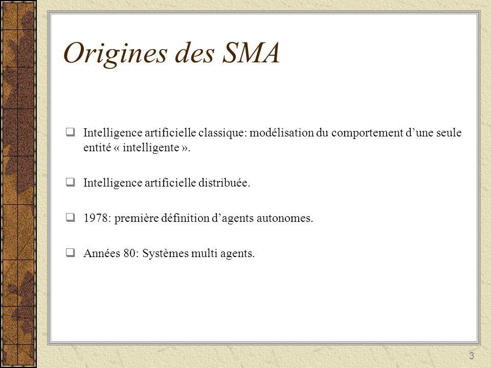 Origines des SMA Intelligence artificielle classique: modélisation du comportement d'une seule entité « intelligente ».