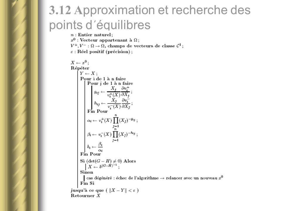 3.12 Approximation et recherche des points d´équilibres