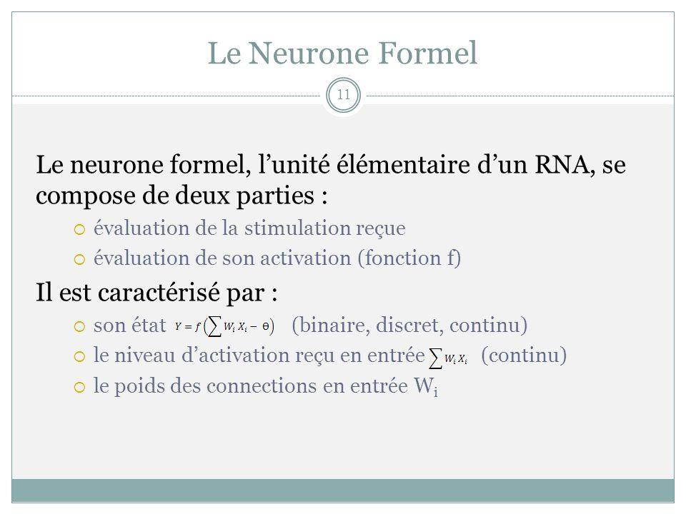 Le Neurone Formel Le neurone formel, l'unité élémentaire d'un RNA, se compose de deux parties : évaluation de la stimulation reçue.
