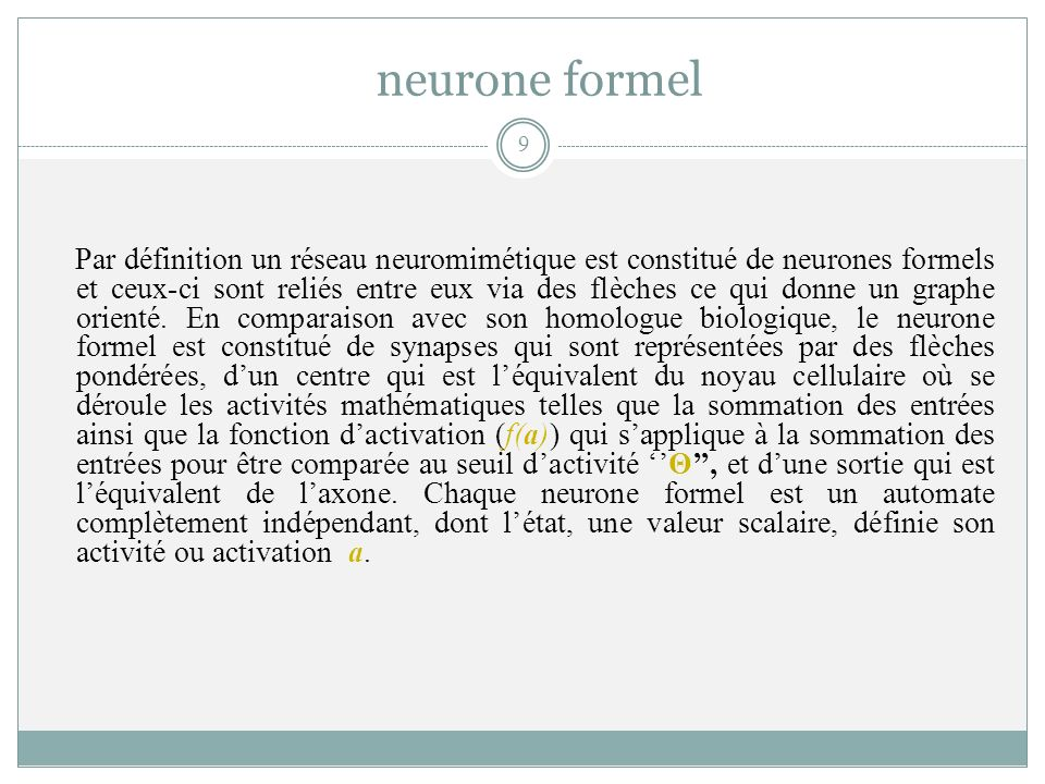 neurone formel