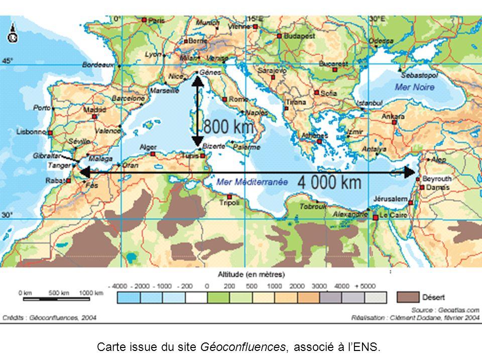 Carte issue du site Géoconfluences, associé à l'ENS.