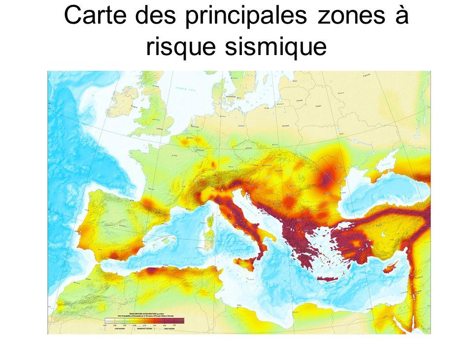 Carte des principales zones à risque sismique