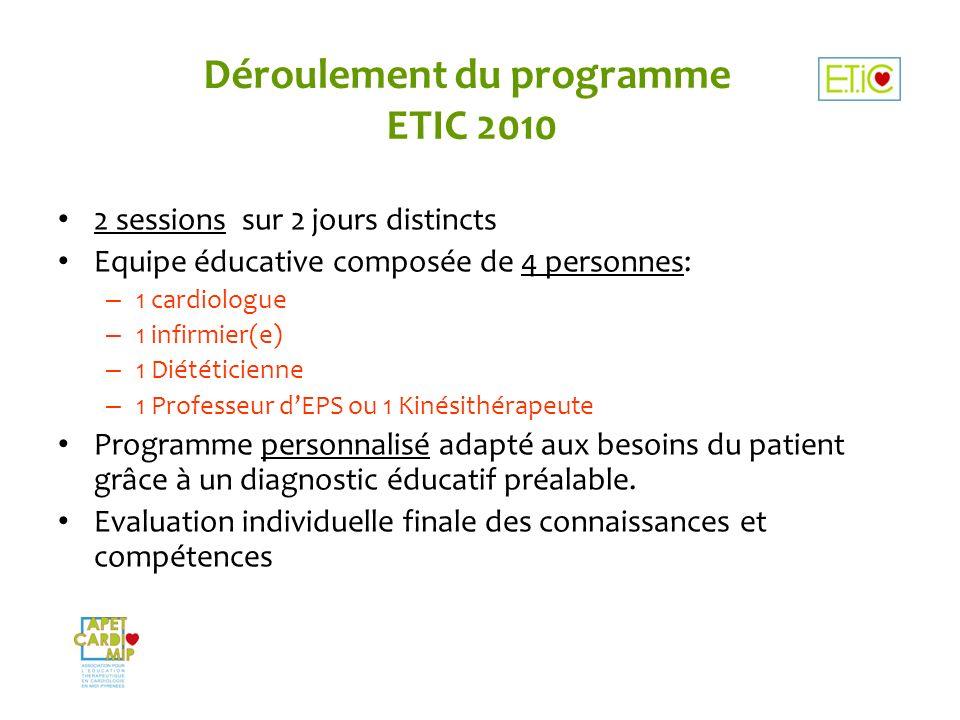 Déroulement du programme ETIC 2010