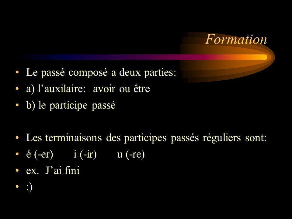 Formation Le passé composé a deux parties: