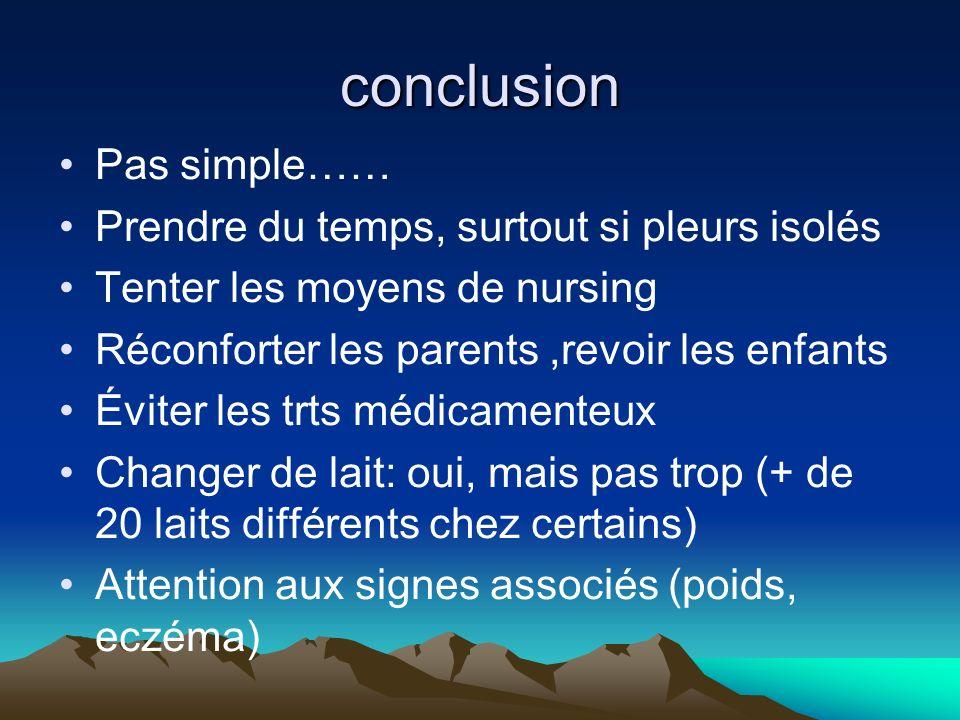 conclusion Pas simple…… Prendre du temps, surtout si pleurs isolés