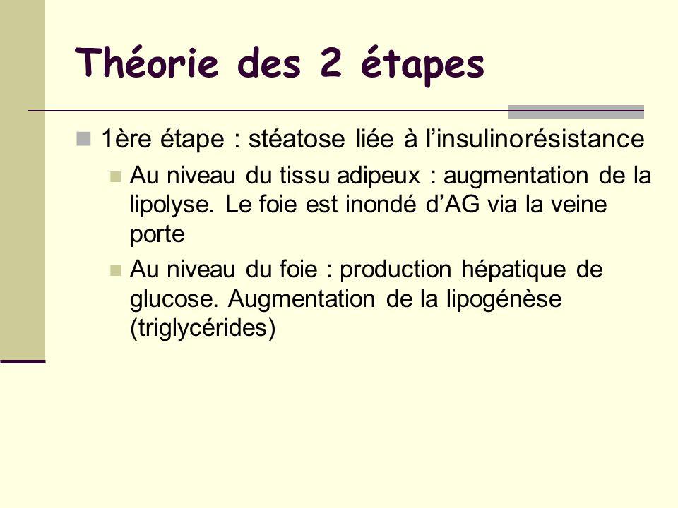 Théorie des 2 étapes 1ère étape : stéatose liée à l'insulinorésistance