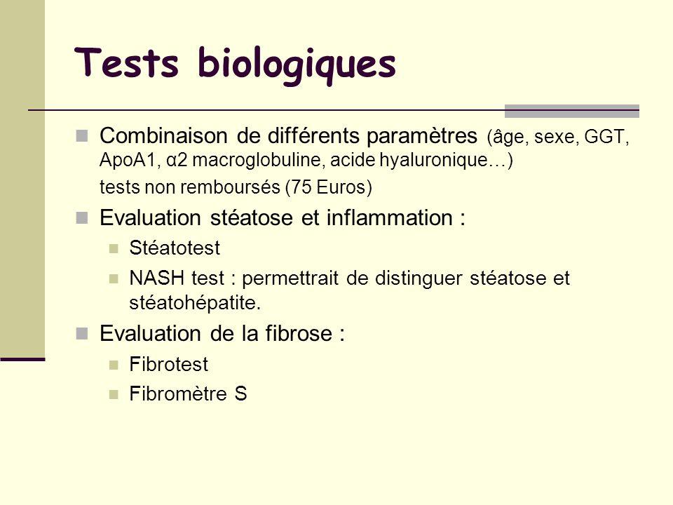 Tests biologiques Combinaison de différents paramètres (âge, sexe, GGT, ApoA1, α2 macroglobuline, acide hyaluronique…)